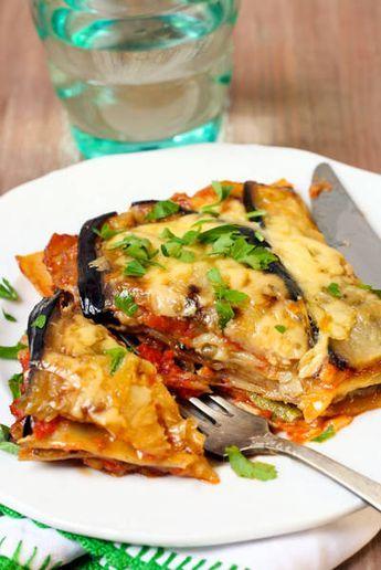 Lasaña de berenjena, tomate y queso