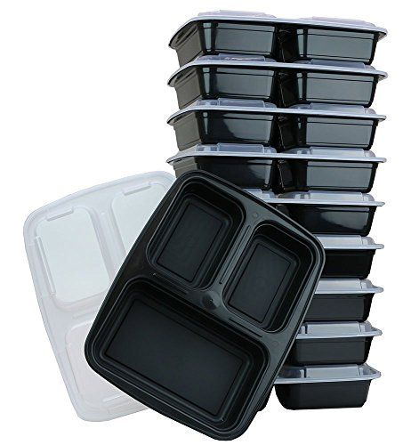 ChefLand 3-Compartment Microwave Safe Food Container with Lid, Divided Plate, Bento Box and Lunch Tray with Cover, Black, 12-Pack ChefLand http://www.amazon.com/dp/B00QFH4MWO/ref=cm_sw_r_pi_dp_v4Xbvb179JBFP