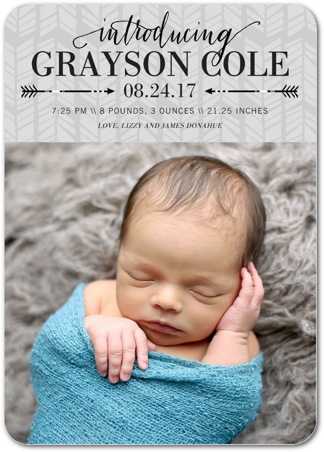 Arrowed Intro: Boy - Boy Photo Birth Announcements in Fog or Lightest Turquoise | Elm & Gray