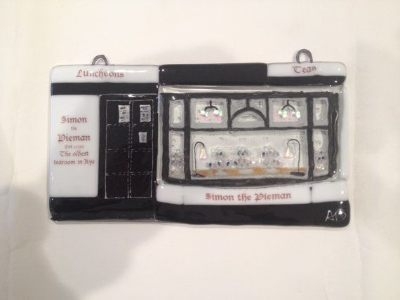 Simon the Pieman fused glass panel depicting by AndyBullGlassArt
