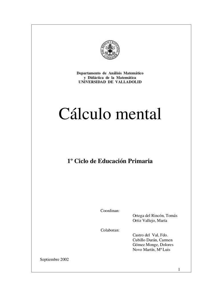Cálculo mental primer ciclo