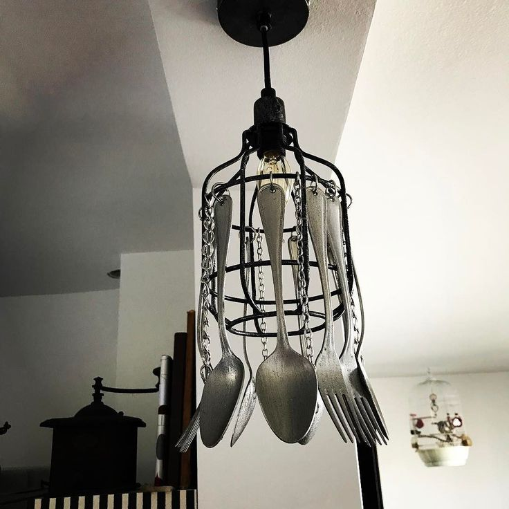 Now available-unique vintage style ceiling lamp with Edison E14 light bulb stainless steel chains original 50 years old spoons&forks with special glitter coating for a perfect shine. :) 97 eur handcrafted by EvilEve.