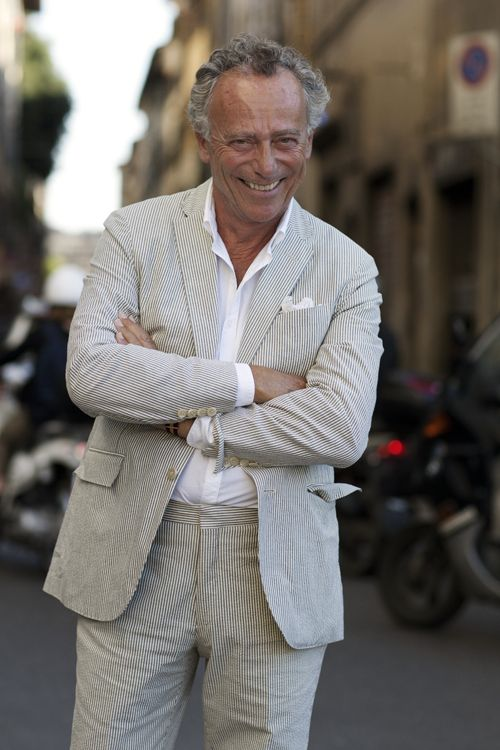 I love the modern and unPreppy manner in which Jacques wears his seersucker suit.  -The Sartorialist  I also love how the color complements his hair perfectly.