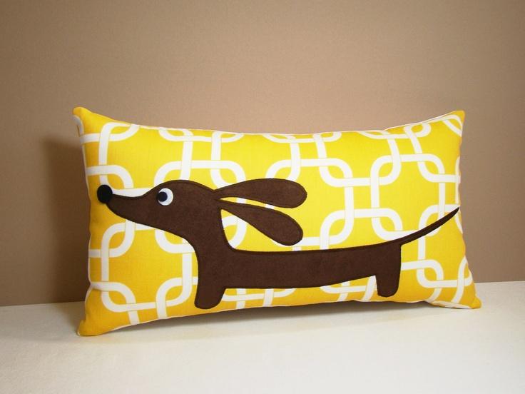 Doxie in the Autumn Sunshine Garden Decorative Rectangular Dachshund Pillow Featuring Designer Fabric. $24,50, via Etsy.