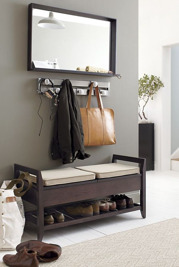I like the idea of a little spot having the coat rack and a shoe rack by the door!