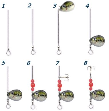 Instructions for making wire fishing baits such as spinnerbaits