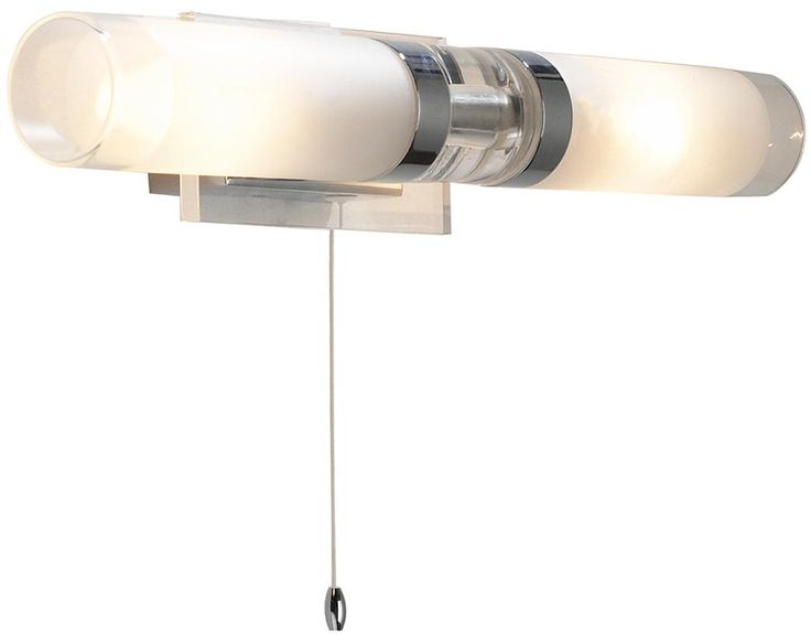 This Dar Reflex switched bathroom double wall light in polished chrome features clear and frosted glass shades, is modern, rated IP44 with pull cord switch.