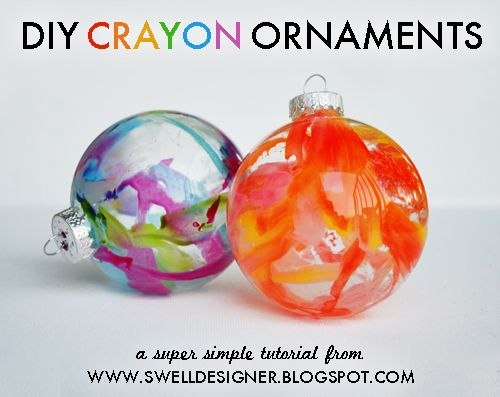 DIY! Melted crayon ornaments? I thought the orange one was artsy blown glass!