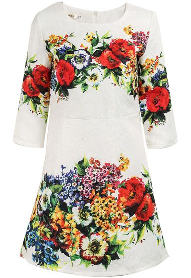 White Half Sleeve Floral Jacquard Dress pictures