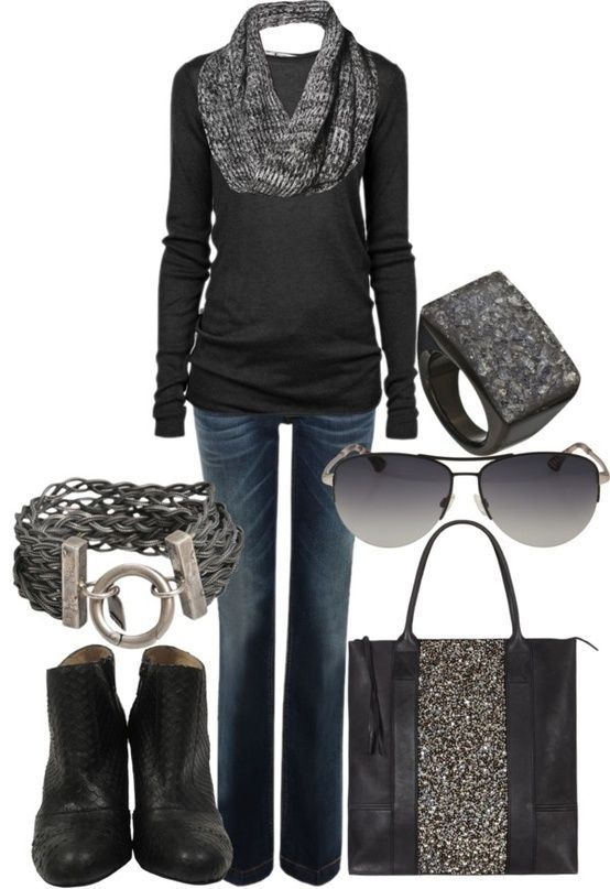 Black boots and black long sleeve with grey scarf and black bag. Possibly  grey socks popping out of boots - 852 Best Womens Fashion - Outfits And Tips Images On Pinterest