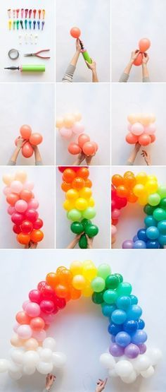 Fashion a mini rainbow balloon arch.