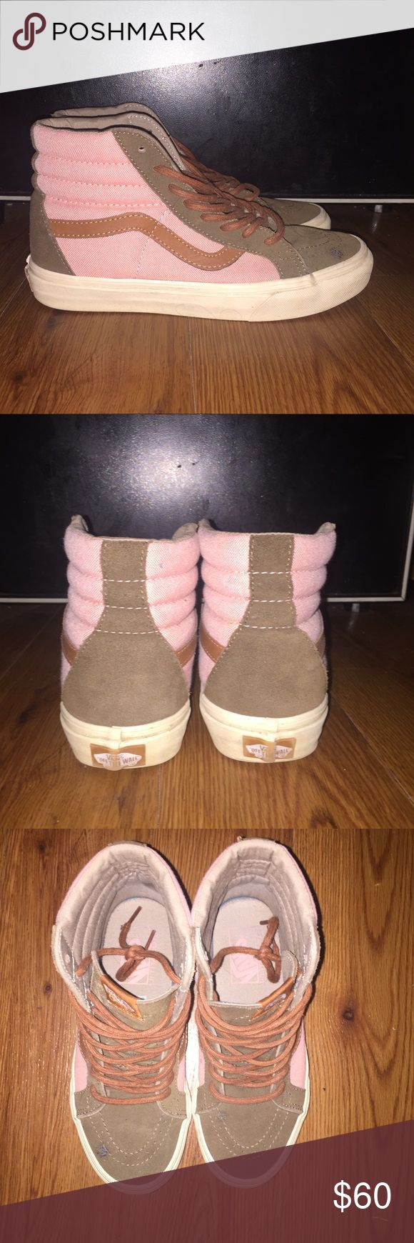 Vans Sk8 Hi Light pink/olive suede sk8 hi's with a brown leather accent and brown laces! Great condition, worn three times. Very little evidence of wearing. Super comfortable and very cute! Vans Shoes Sneakers