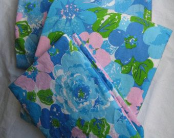 vintage bedding set blue pink flowers full size flat fitted bed sheets pillowcase 3 piece wabasso