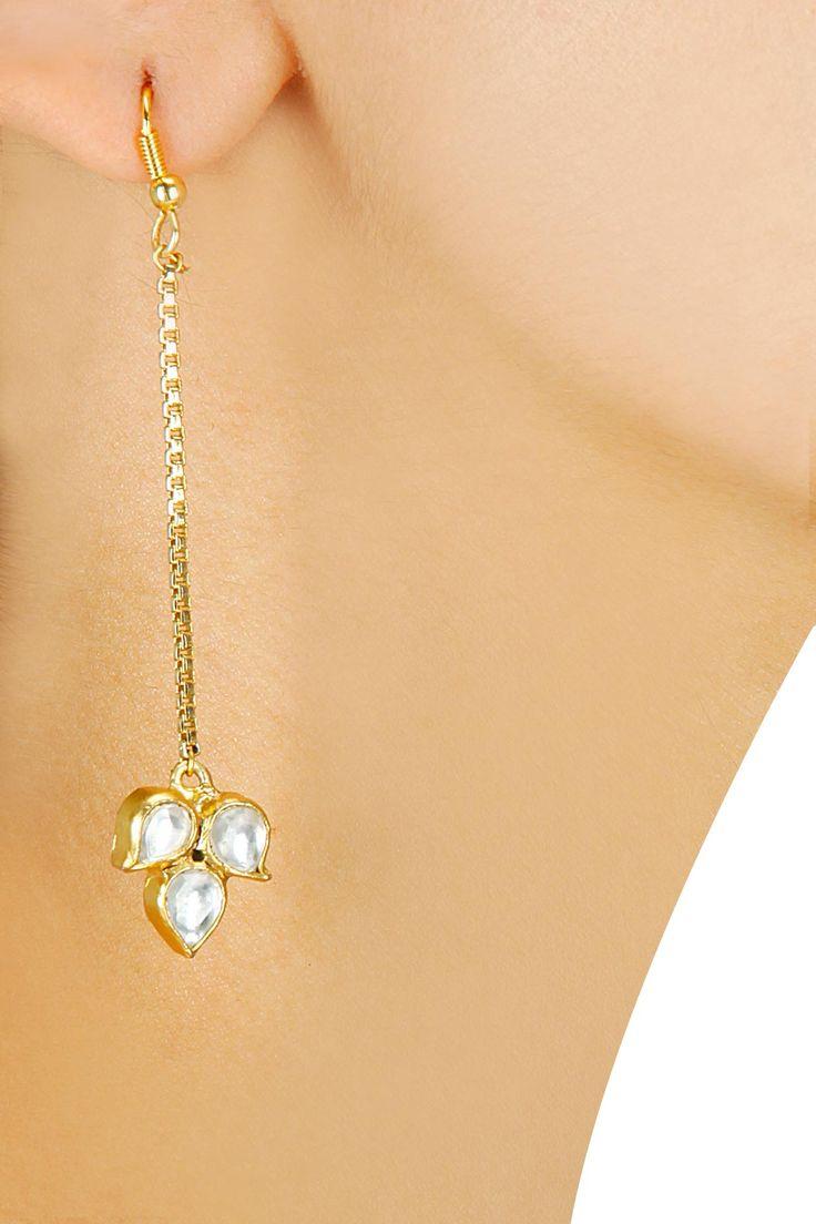 Gold finish kundan flower drop long earrings by Art Karat. Shop now at www.perniaspopups