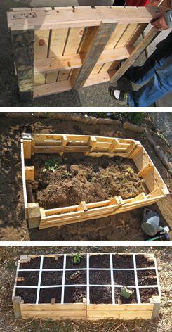 pallet raised garden. Wat een mooi voorbeeld van recyclen. Zo krijg je een echte minimoestuin.#Repin By:Pinterest++ for iPad#
