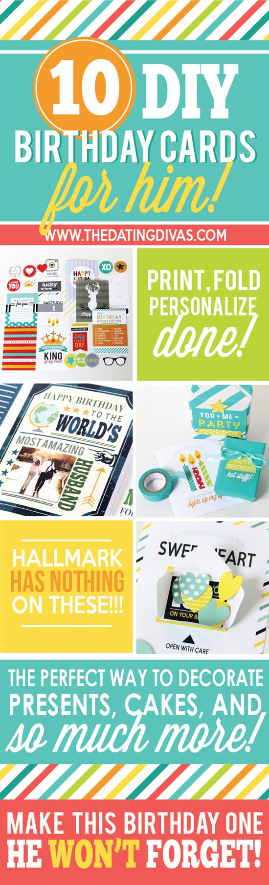 Every style you could ever need of printable birthday cards for your husband!