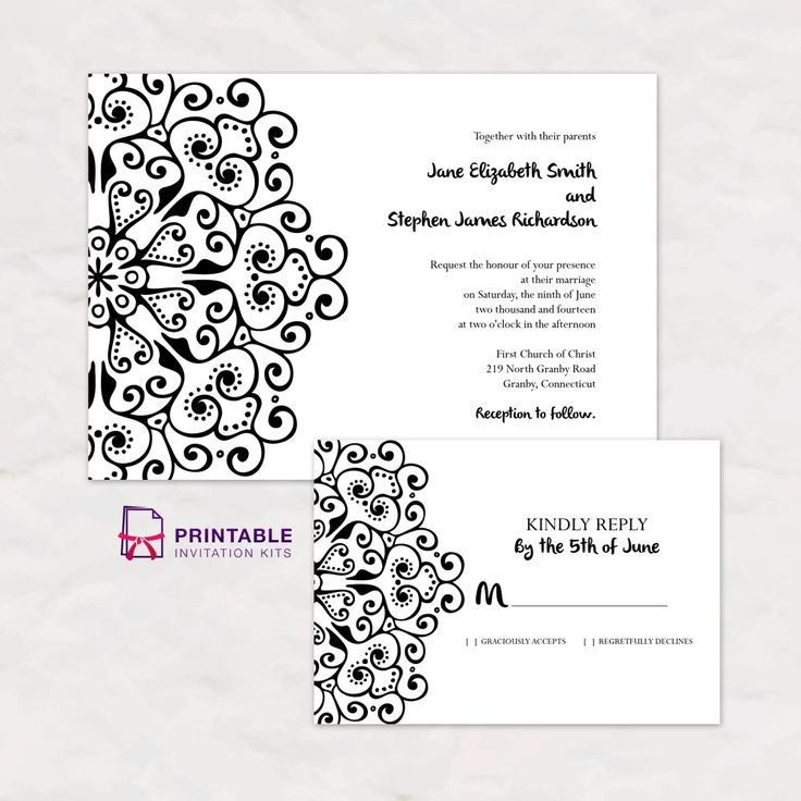 Mandala Border Boho Wedding Invitation And RSVP Templates