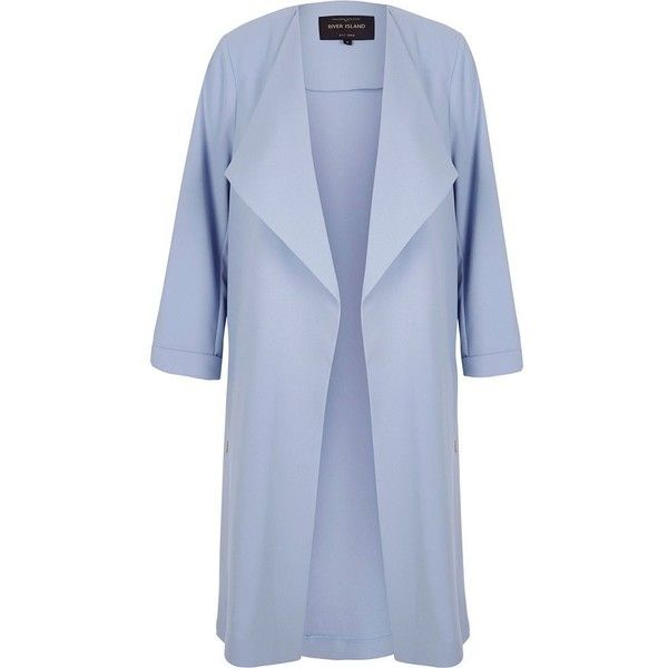 River Island Petite light blue duster coat (7.085 RUB) ❤ liked on Polyvore featuring outerwear, coats, collar coat, petite coats, petite duster coat, tall coats and river island