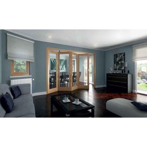 JELD-WEN 4 Door Shaker White Oak 1 Lite Clear Glazed Roomfold Doorset