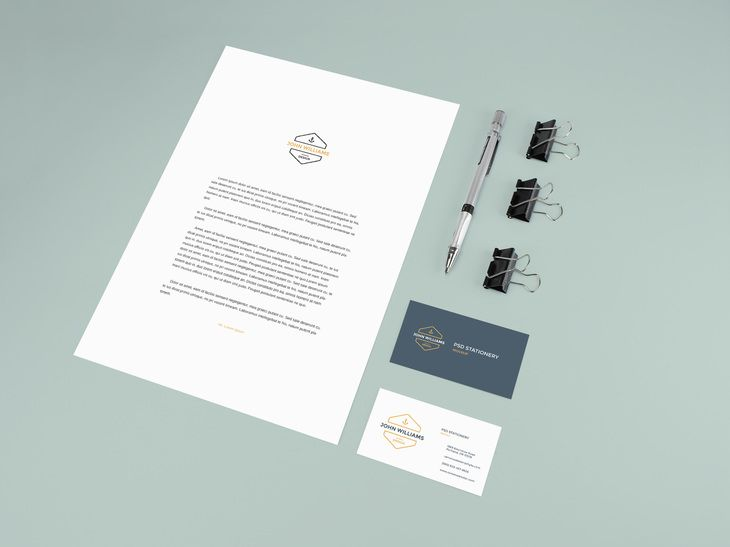Stationery Mockup With Pencil And Clips Stationery Mockup Free Business Card Mockup Stationery Mockup Free
