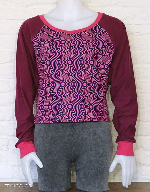 Psychedelic, tekno, goa sweater with Space Tribe fabric made by Teknicolor