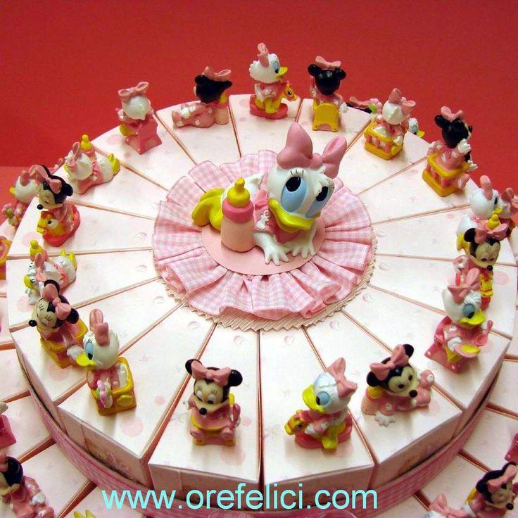Torta bomboniera con Minnie e Paperina Disney per Nascita, Battesimo