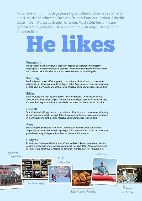 Beschreibung des Bräutigams - He likes - kostenlose Vorlage für die Hochzeitszeitung - einfach gestalten auf www.jilster.de