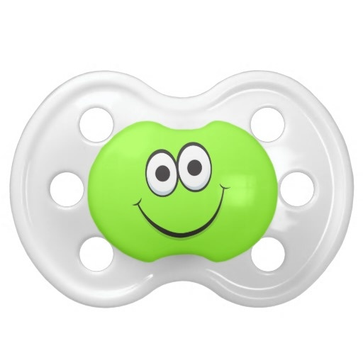 Happy smiling green cartoon smiley face funny baby pacifiers