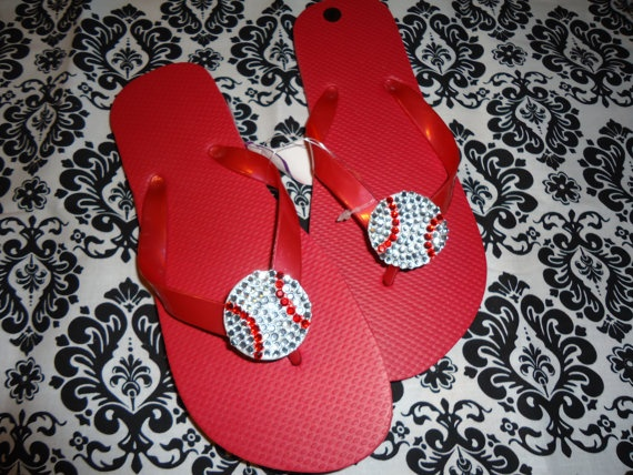 Baseball or Softball Swarovski Flip Flops by DLoveCouture on Etsy, $25.00