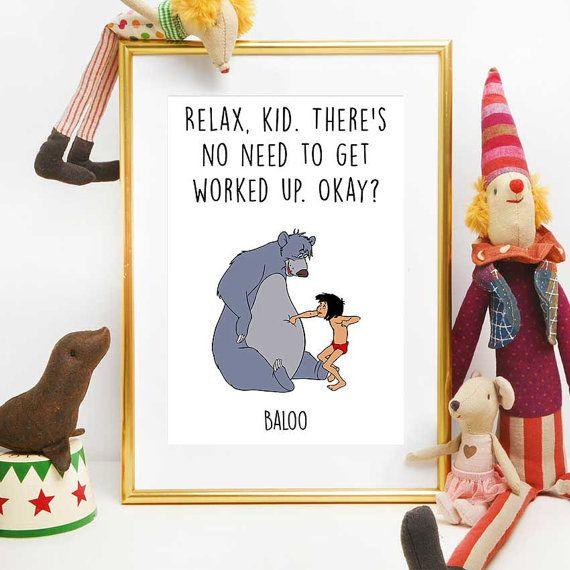 Baloo and Mowgli Print Jungle Book Quote Disney by DigitalSpot