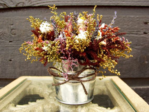 Wedding Centerpiece, Wedding Table Arrangement, Primitive Country Tin Bucket with Fragrant Rustic Rose Dried Flower Arrangement