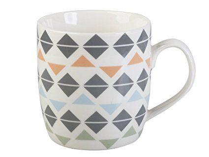 Creative Tops Everyday Home Geometric Diamond Barrel Mug, Multicoloured