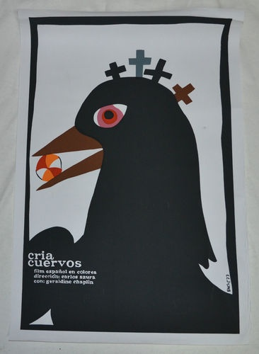 "20x30"" Silkscreen Movie Poster from Cuba Cria Cuervos Black Bird with Beach Ball 