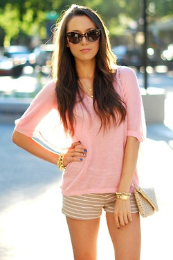 pale pink & tan stripe shorts: Gold Arm Candy, Shirts, Soft Pink, Summer Style, Pink Tops, Pale Pink, Summer Outfits, Cat Eye Sunglasses, Stripes Shorts