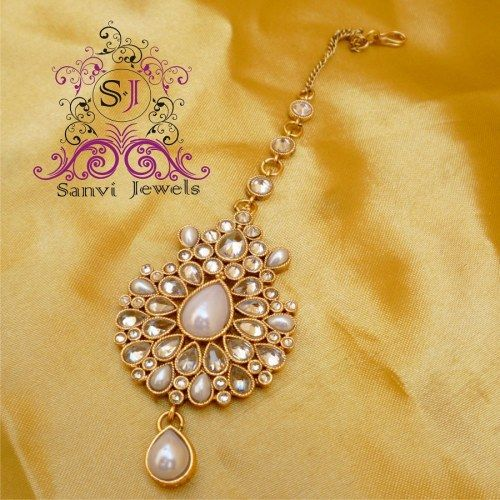 Pearl & American Diamond Maang Tikka - Online Shopping for Maang Tikkas by Sanvi Jewels Pvt. Ltd.