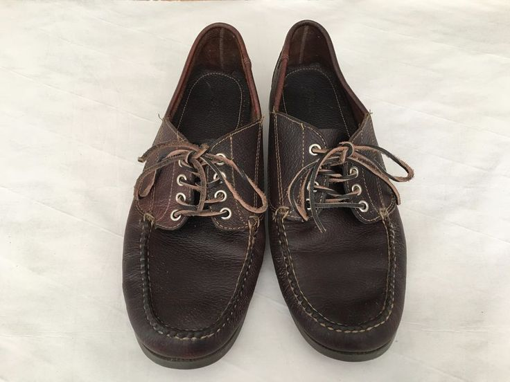 LL Bean Mens Raisin Brown Lace Up Leather Loafers Shoes Size 13 D Leather Laces #LLBean #LoafersSlipOns