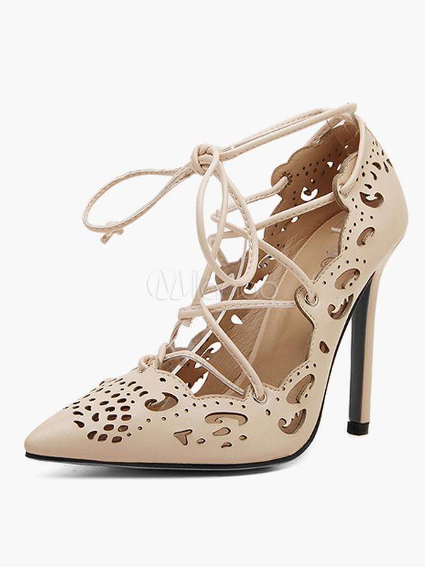 レディース靴,サンダル ヌードカラー スティレットヒール 11.5cm ポインテッドトゥ グラディエーターサンダル 美脚  - Milanoo.jp