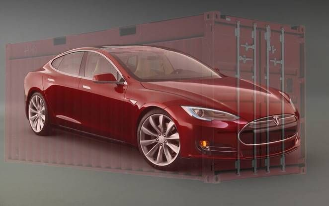 Tesla inside a container