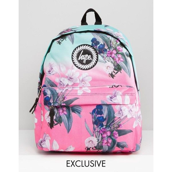 Hype Exclusive Ombre Floral Backpack ($41) ❤ liked on Polyvore featuring bags, backpacks, softfloralone, top handle bag, pink floral backpack, floral bag, pink bag and rucksack bag