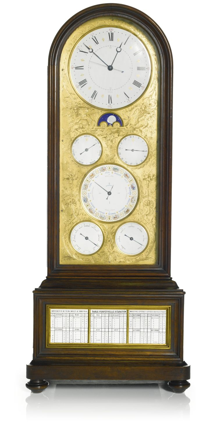 A LOUIS PHILIPPE EXHIBITION QUALITY ROSEWOOD SIX MONTH-GOING TABLE TIMEPIECE WITH PERPETUAL CALENDAR, BOURDIN, PARIS, CIRCA 1845 6 1/2-inch enamel time dial, signed Bourdin, above a moon phase indicator and subsidiary day and date dials, the month dial with finely enamelled polychrome zodiacal signs and bisextile indication, subsidiary thermometer and barometer dials below, all within a finely engraved gilt mask, the timepiece movement with tandem spring barrels and lever platform…