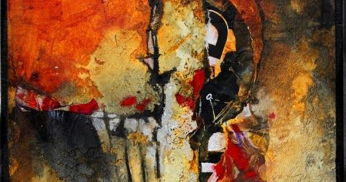 """Mixed media abstract painting, """"Don't Think Twice"""", by Carol Nelson      For some reason, I always like to see printed letters or numbers ..."""