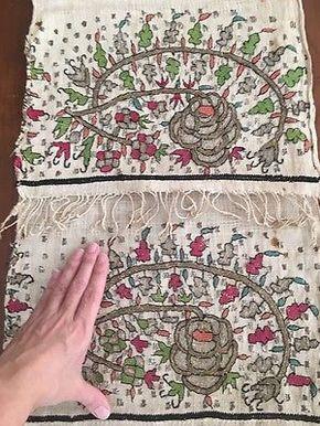 Antique Ottoman-turkish Silk & Metallic Hand Embroidery On Linen Panel
