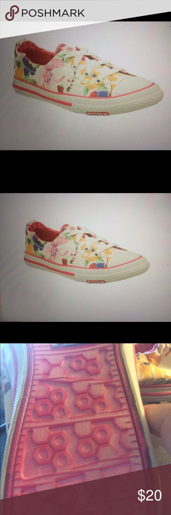Bob's shoes by Skechers Adorable pink floral design on white background. Elastic in back. Worn once, no wear or flaws. SPECIAL! Buy any item priced at $20 or more get an item priced at $19 or less FREE! bob's by skechers Shoes Athletic Shoes