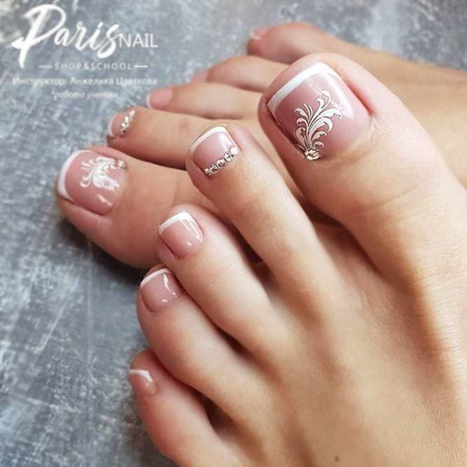 Pretty Pedicures French Toe Nails Cute Toe Nails Toe Nail Color