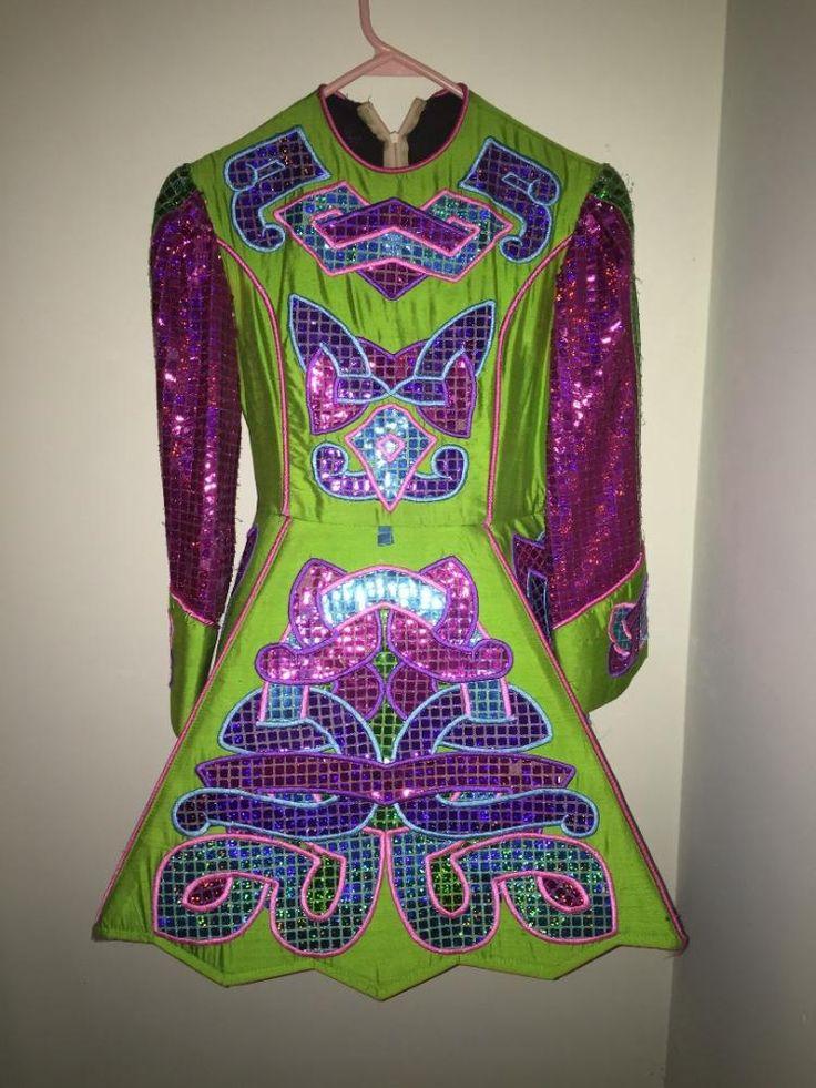 Pretty Green Paul Keith Irish Dance Dress Solo Costume For Sale