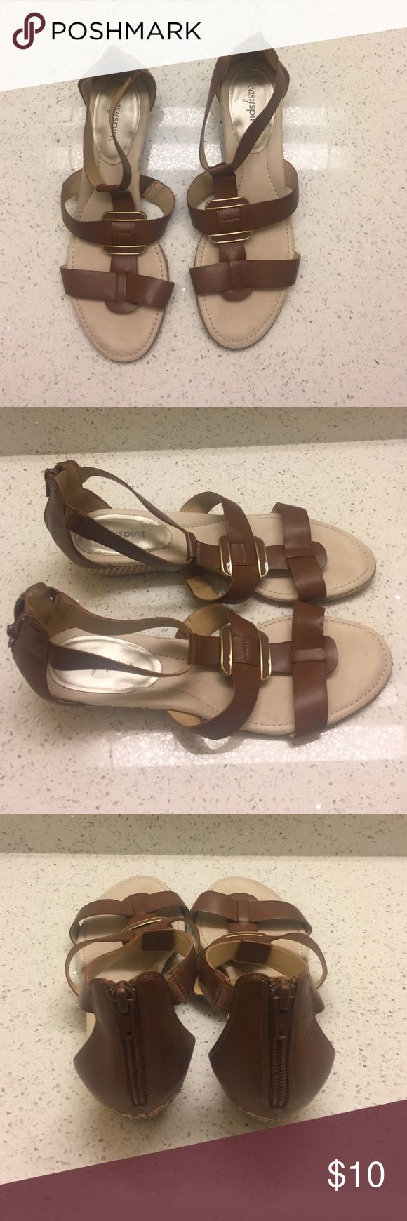 Easy Spirit Sandals Brown and Beige Sandals (small wedge) Easy Spirit Shoes Sandals