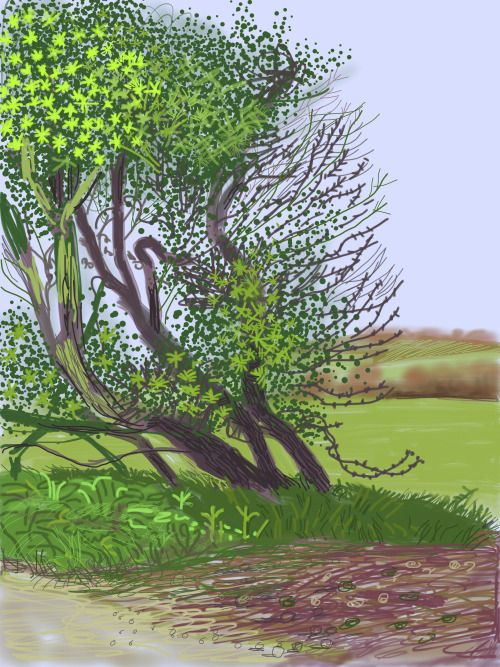 David Hockney (Brit., born 1937), The Arrival of Spring in Woldgate, East Yorkshire in 2011 (Twenty Eleven), 12 April 2011, No.1 (One of a 52 part work), iPad drawing printed on paper (144.1 x 108 cm)