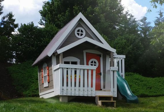 Big Playhouse With Slide Platform And By