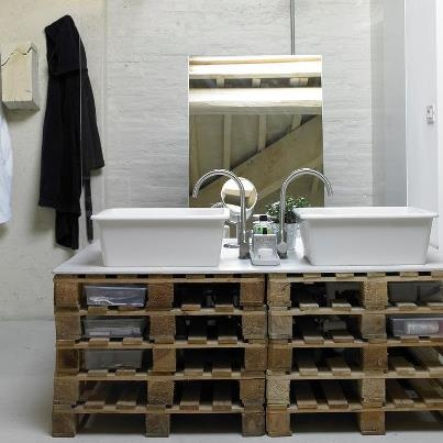 Lavabo doble #Palets #Pallets #decorar #design #wood