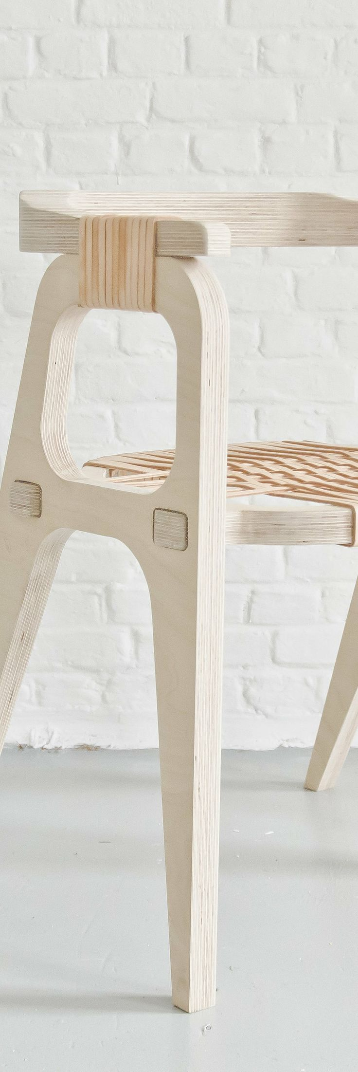 bind chair by jessy vandurme made by birch plywood and leather strings use glue stick the leather strings with the chair seat back edge to make it more